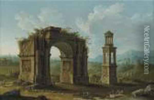 San Remy, Southern France, With  Ruins Of A Monumental Arch And An Early First-century Tomb Of The Julii  At Glanum Oil Painting - Antonio Joli