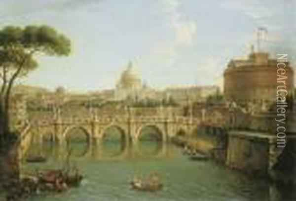 Rome, A View Of The Tiber  Looking Downstream With The Castel And Ponte Sant' Angelo, Saint Peter's  Basilica And The Vatican, Santo Spirito In Sassia And The Janiculum  Beyond Oil Painting - Antonio Joli