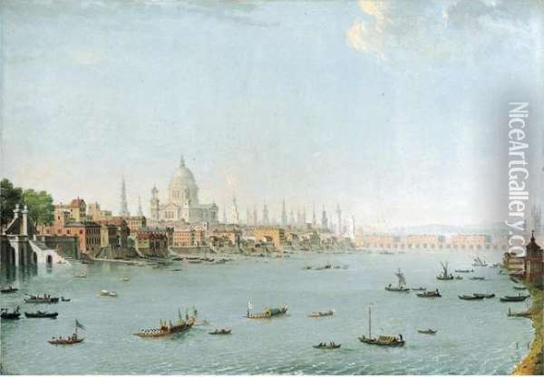The Thames Looking Towards The City; And The Thames Looking Towards Westminster Oil Painting - Antonio Joli