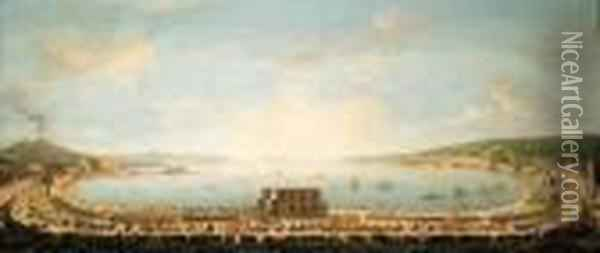 A Panoramic View Of The Bay Of Naples, With The Royal Procession Topiedigrotta Oil Painting - Antonio Joli