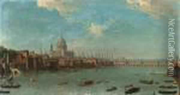 A Panoramic View Of The City Of  London From The Thames Near Thewater Gate Of Somerset House Oil Painting - Antonio Joli