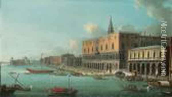 The Bacino Di San Marco, Venice,  Looking West With The Doge'spalace, The Entrance To The Grand Canal And  Santa Maria Dellasalute Beyond Oil Painting - Antonio Joli