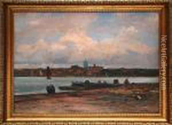 Town On A River Men Working On Dock Oil Painting - Johann Jungblutt