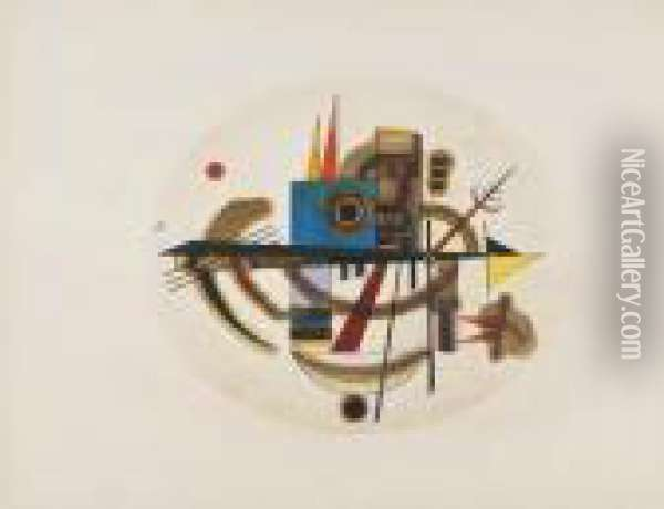 Oval Composition Ii Oil Painting - Wassily Kandinsky