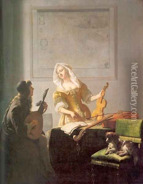 The Music Lesson 1671 Oil Painting - Jacob Ochtervelt