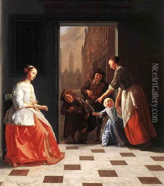 Street Musicians at the Doorway of a House 1665 Oil Painting - Jacob Ochtervelt