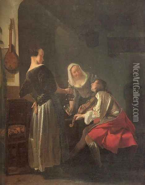 Violinist and Two Serving Women 1663-65 Oil Painting - Jacob Ochtervelt
