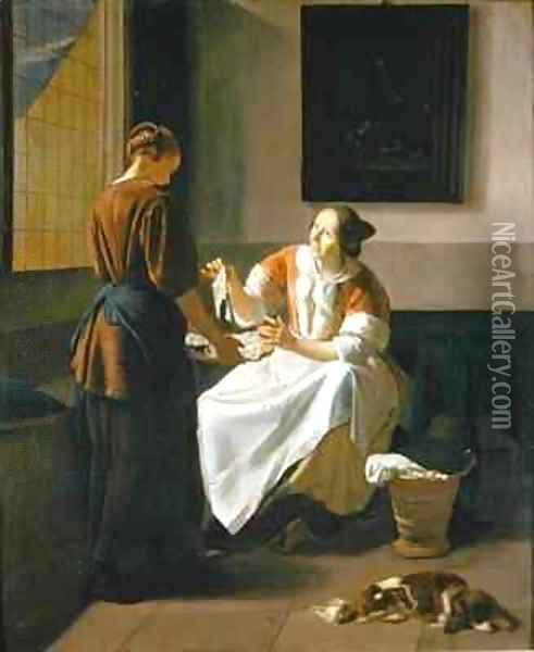 A Lady and Maid Choosing Fish Oil Painting - Jacob Ochtervelt