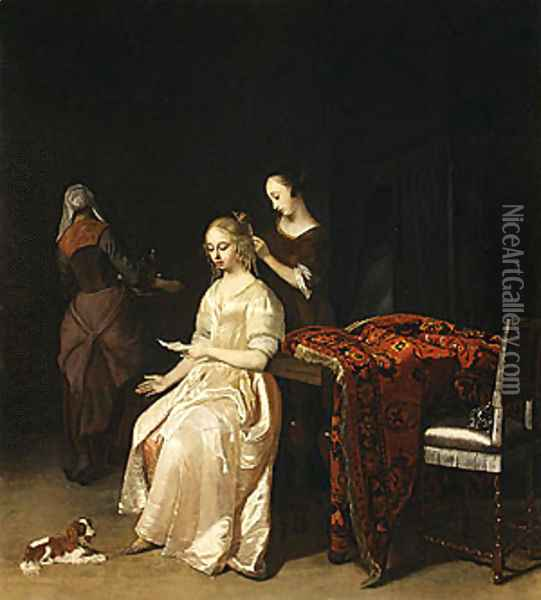 The Love Letter ca 1670 Oil Painting - Jacob Ochtervelt