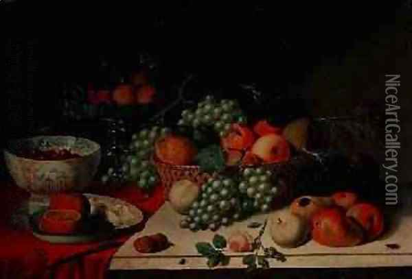 A basket of grapes and apple Oil Painting - Jan van Os