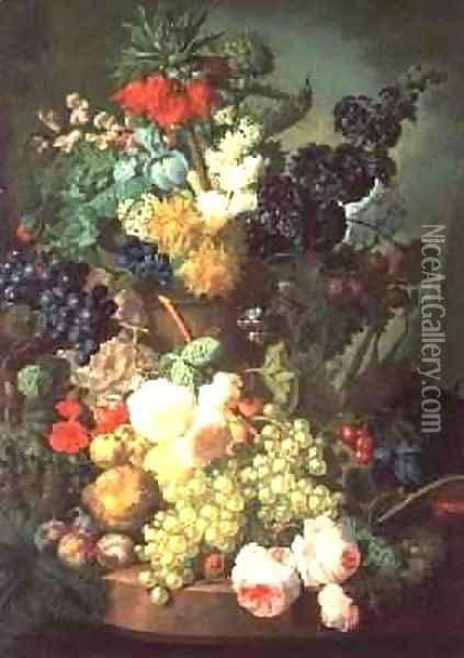 Still Life Mixed Flowers and Fruit with Birds Nest Oil Painting - Jan van Os