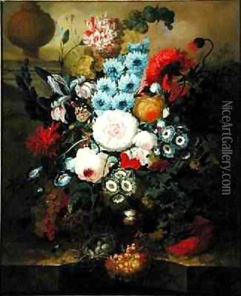 Carnations, Morning Glory, Roses, Auriculas, Hyacinth and Other Flowers with a Birds Nest on a Marble Ledge Oil Painting - Jan van Os