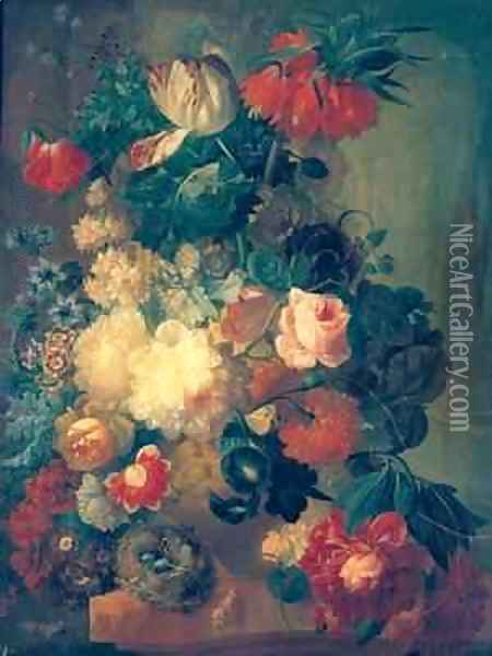 Flowers in a Vase with a Birds Nest Oil Painting - Jan van Os