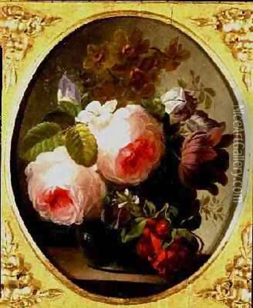 Roses and Other Flowers in a Vase Oil Painting - Jan van Os