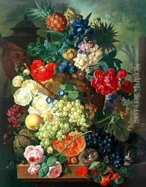 Mixed Flowers and Pineapples in an Urn with a Bird's Nest and a Cat Oil Painting - Jan van Os