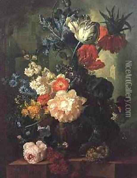 Roses, Tulips, Carnations and other flowers in a sculptured urn Oil Painting - Jan van Os