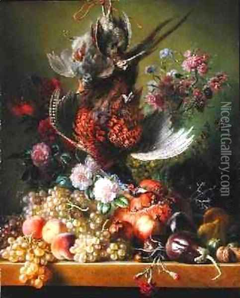 Still Life with Pheasant and Flowers, 1838-39 Oil Painting - Jan van Os