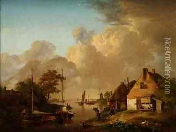 River landscape with village, barges and peasants Oil Painting - Jan van Os