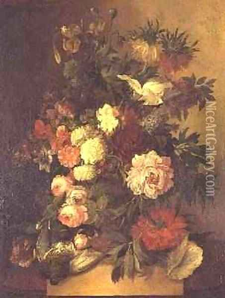 Peonies, roses and other flowers in an urn Oil Painting - Jan van Os