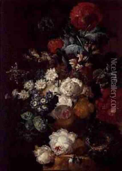Still Life with Flowers and a Birds Nest Oil Painting - Jan van Os