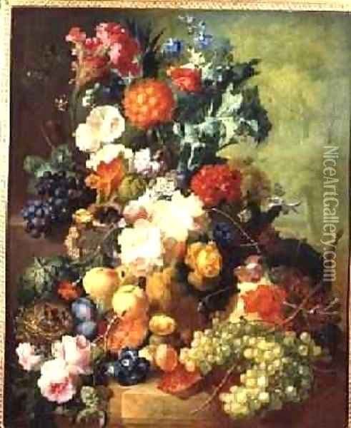 Still Life with Flowers and Fruit Oil Painting - Jan van Os