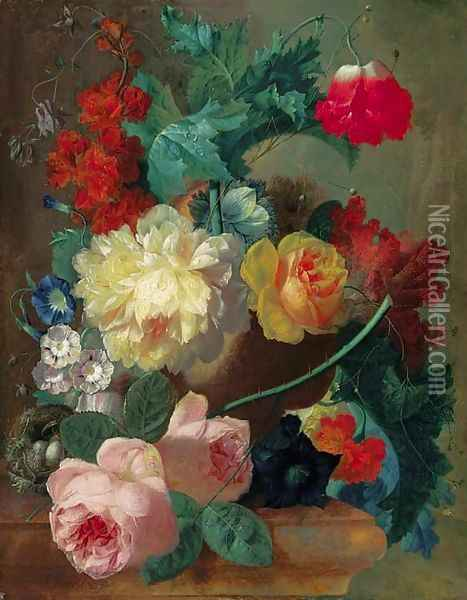 Roses, a poppy, bougainvillea, peonies, morning glory, primulas and a coxcomb in a terracotta vase with a bird's nest on a marble ledge Oil Painting - Jan van Os
