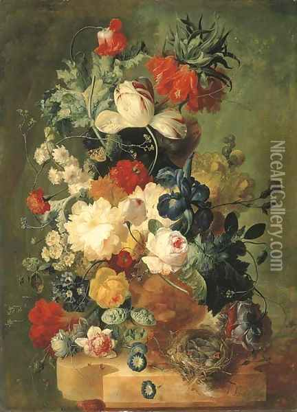 Pink and yellow roses, peonies, an iris, tulips, primulas, hyacinths, a poppy, a coxcomb, fritillaries and other flowers in a sculpted urn with a bird Oil Painting - Jan van Os
