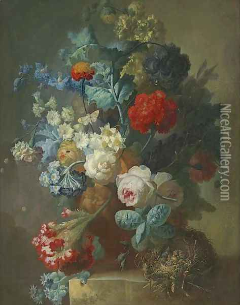 Roses, cineria, cockscombe, auricula, hops, hollyhocks, narcissi, helichrysum, geum and a carnation in a sculpted vase with chicks in a nest Oil Painting - Jan van Os