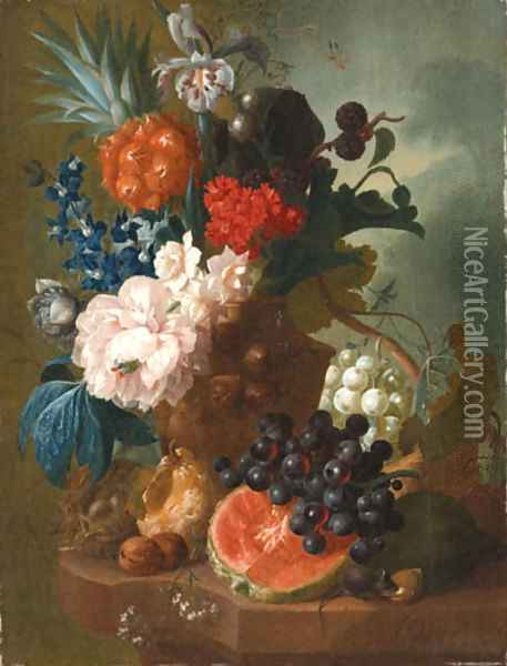 A peony, an iris, a pineapple, blackberries, narcissi and other flowers in a terracotta vase, with a bird's nest, a mouse, a melon, grapes and walnuts Oil Painting - Jan van Os