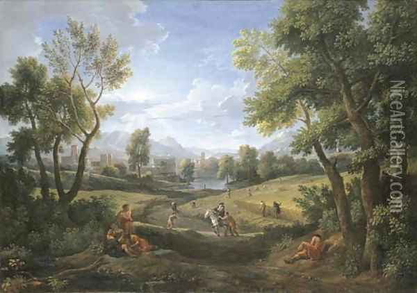 An extensive river landscape with peasants during the harvest, a lakeside town beyond 2 Oil Painting - Jan Frans Van Bloemen (Orizzonte)