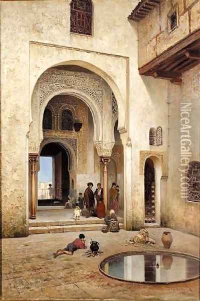 A courtyard in Alhambra, 1889 Oil Painting - Frans Wilhelm Odelmark