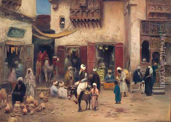 In The Souk, Cairo Oil Painting - Frans Wilhelm Odelmark