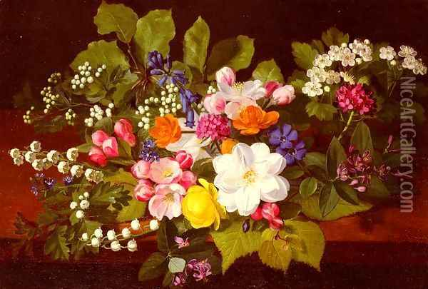 A Bouquet Of Spring Flowers On A Ledge Oil Painting - Otto Didrik Ottesen