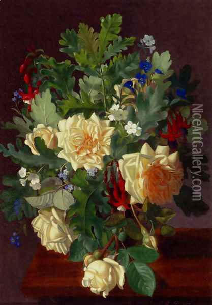 A Still Life With Yellow Roses And Freesia Oil Painting - Otto Didrik Ottesen