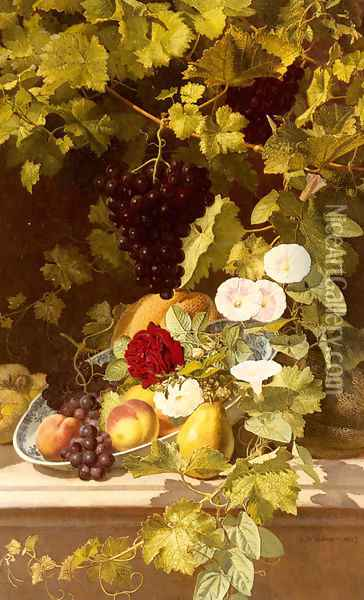 A Still Life With Fruit, Flowers And A Vase Oil Painting - Otto Didrik Ottesen