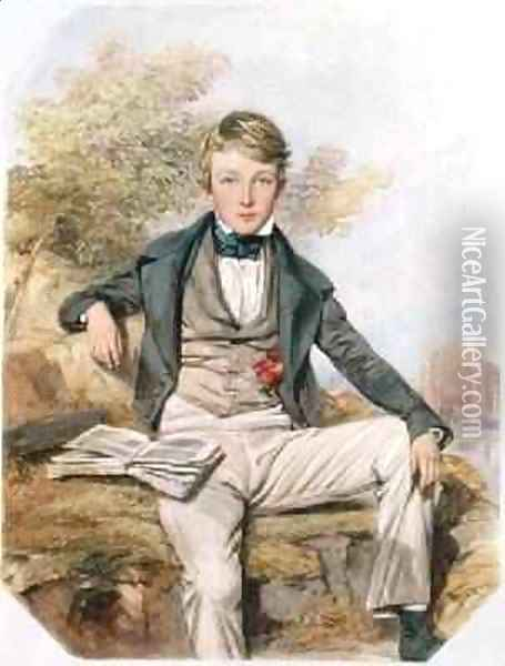 Portrait of Benjamin Gibbons Seated with a View of Eton College Beyond 1838 Oil Painting - Octavius Oakley