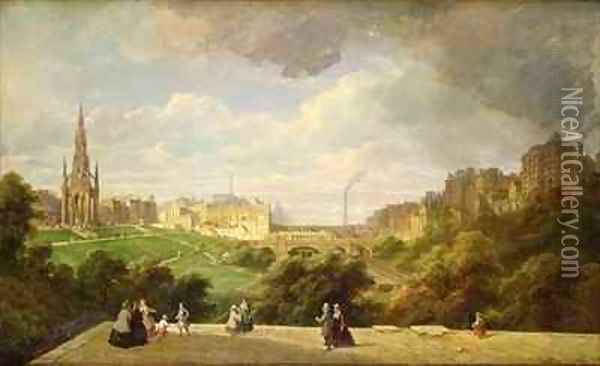 View of Edinburgh, the Walter Scott Monument Oil Painting - Pierre Justin Ouvrie