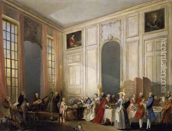 Afternoon Tea at the Temple 1766 Oil Painting - Michel-Barthelemy Ollivier