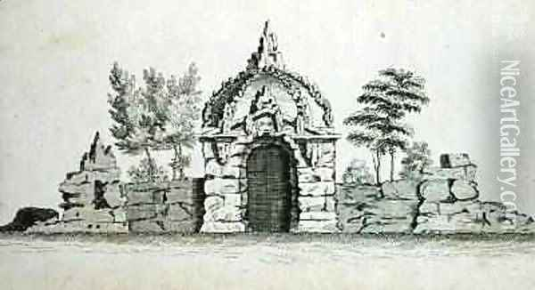 A Grotto, from Ornamental Architecture in the Gothic, Chinese and Modern Taste, published 1758 Oil Painting - Charles Over