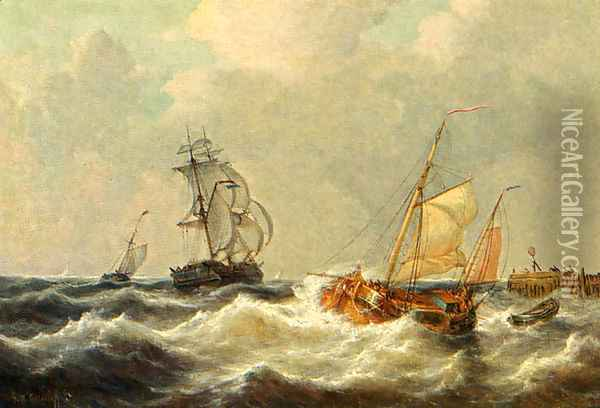Sailing Vessels In Choppy Waters Oil Painting - George Willem Opdenhoff
