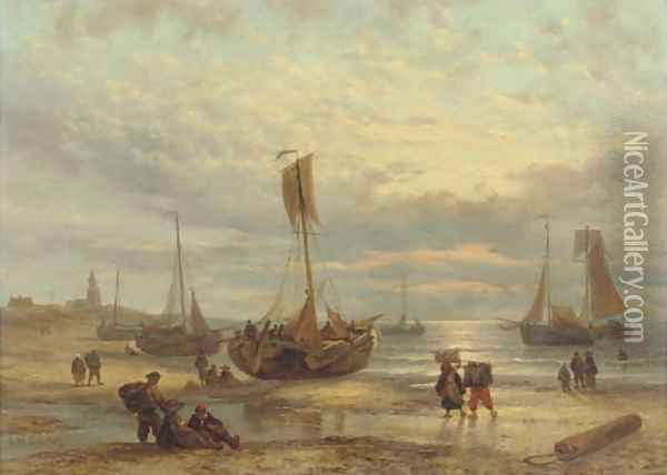 Fishing vessels on the beach at sunset, Scheveningen Oil Painting - George Willem Opdenhoff