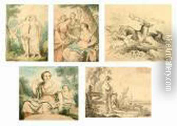 Three Unframed Watercolours Of  Classical Scenes, Together With A Pencil Drawing, Bears Signature  Koekkoek And Another Oil Painting - Angelica Kauffmann