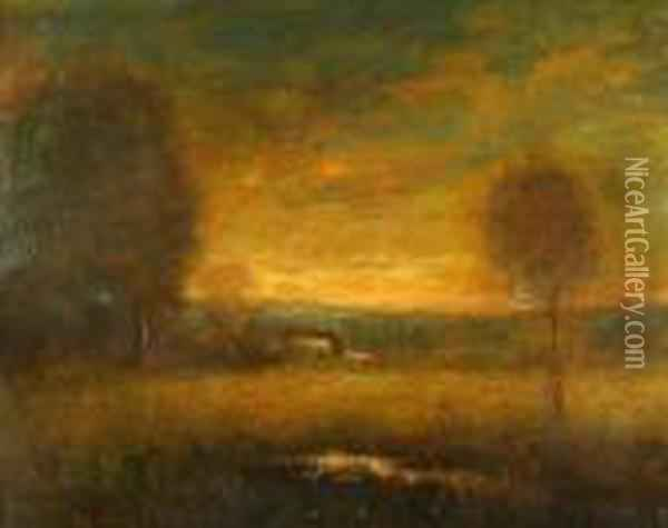 Western Sunset, Innes Sunset Oil Painting - William Keith