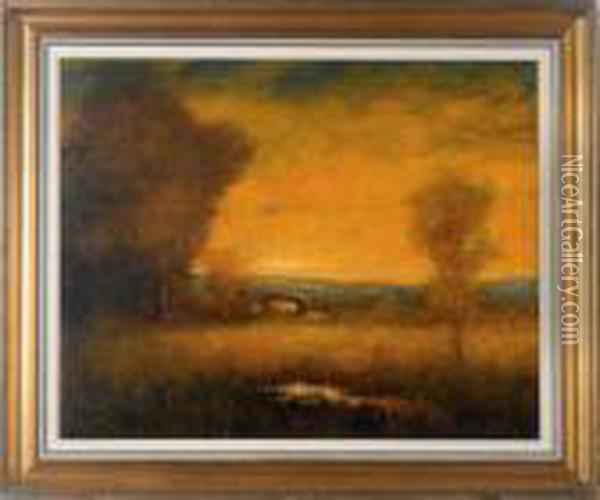 Western Sunset Oil Painting - William Keith