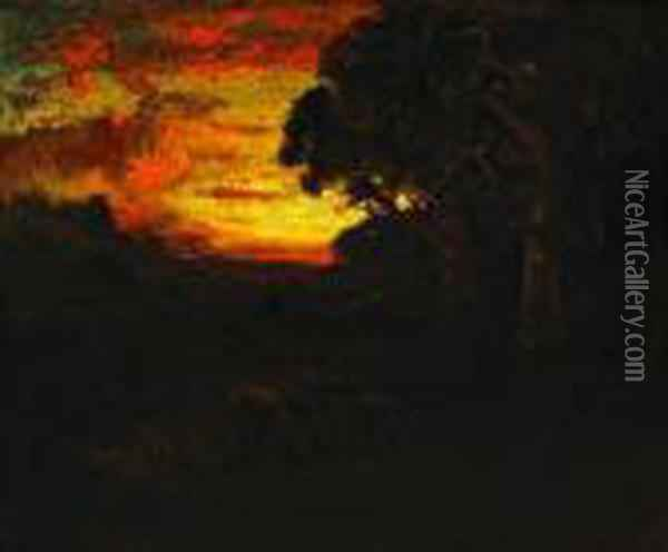 Sunset Oil Painting - William Keith