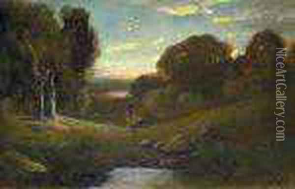 Landscape At Sunset Oil Painting - William Keith