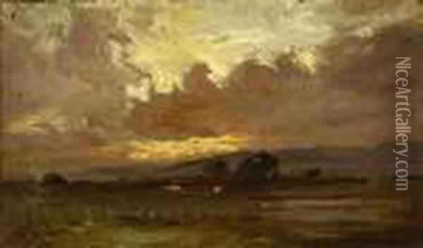 Landscape And Clouds At Sunset Oil Painting - William Keith