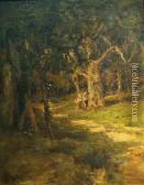 Two Figures By A Woodland Path Oil Painting - William Keith