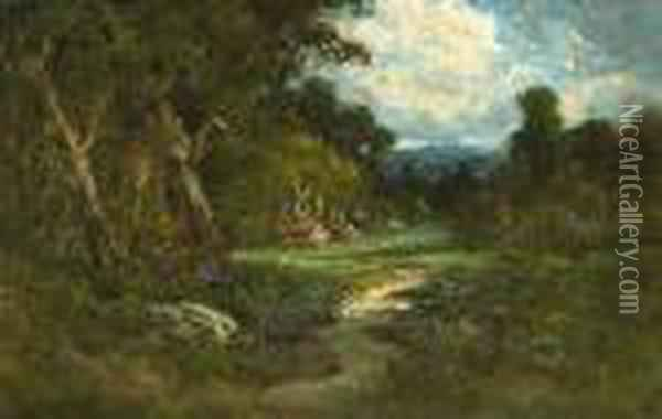 A Farmhouse In A Forest Clearing Oil Painting - William Keith