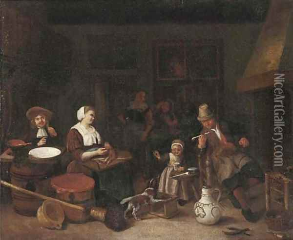 A kitchen interior with a woman cutting fish and a girl playing with a dog Oil Painting - Adriaen Jansz. Van Ostade